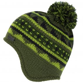 Kids Rivel Fair Isle Knit Bobble Hat Calla Green