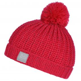 Kids Luminosity Reflective Knit Bobble Hat Bright Blush