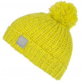 Kids Luminosity Reflective Knit Bobble Hat Acid Yellow