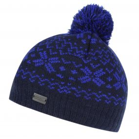 Kids Snowflake II Fair Isle Knit Bobble Hat Navy