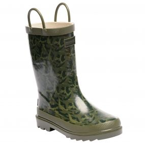 Kids Minnor Wellington Boots Fauna Bay Leaf