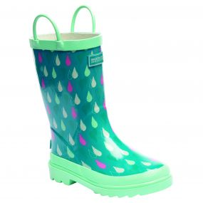 Kids Minnor Wellington Boots Aqua Mint Green