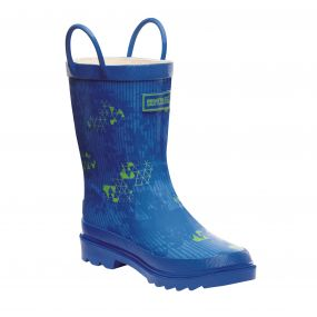 Kids Minnor Wellington Boots Oxford Blue Green Flash