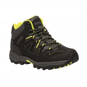 Kids Holcombe Mid Walking Boots Black Lime Punch