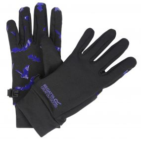 Kids Grippy Stretch Gloves Black Surfspray Blue Bat