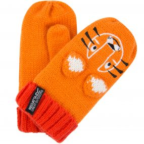 Kids Animally Mitts II Tiger Gloves Persimmon Burnt Samon
