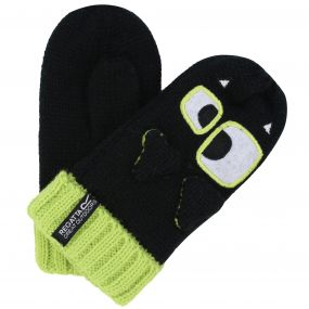 Kids Animally Mitts II Monster Gloves Black Lime Zest