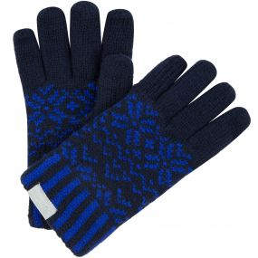 Kids Snowflake II Fleece Lined Fair Isle Knit Gloves Navy