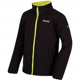 Kids Tato IV Softshell Jacket Black Lime Zest