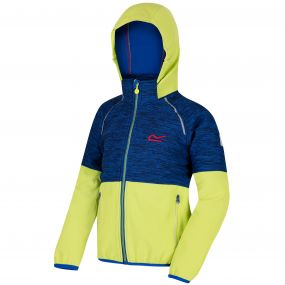 Kids Hydronic II Hooded Stretch Softshell Jacket Surfspray Blue Lime Zest