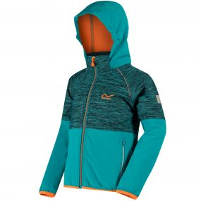 Kids Hydronic II Hooded Stretch Softshell Jacket Aqua Enamel