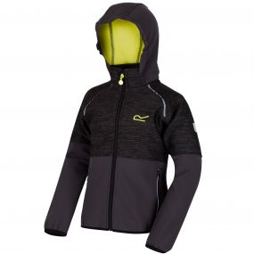 Kids Hydronic II Hooded Stretch Softshell Jacket Black Ash