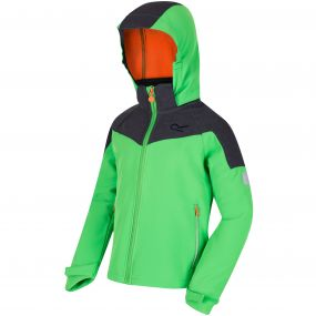 Kids Acidity Hooded Softshell Jacket Fairway Green Seal Grey Reflective