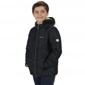 Kids Coulby II Quilted Printed Puffer Jacket Black Cosmic Print