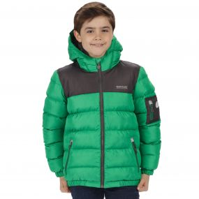 Kids Larkhill Heavyweight Quilted Puffer Jacket Verdant Green Iron