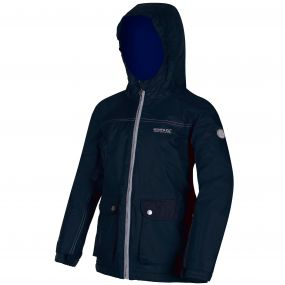 Kids Malham Waterproof Reflective Hooded Jacket Navy Surfspray Blue