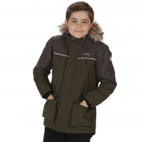 Kids Paxton Waterproof Parka Jacket Dark Khaki Dust Marl