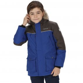 Kids Paxton Waterproof Parka Jacket Surfspray Blue Dust Marl