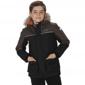 Kids Paxton Waterproof Parka Jacket Black Dust Marl