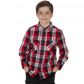 Kids Noster Cotton Checked Shirt Navy-Red
