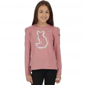 Kids Whiteshaw Long Sleeved Cotton Graphic T-Shirt Ash Rose Fox Print