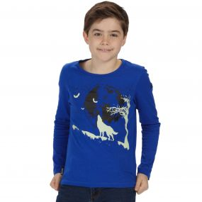 Kids Whiteshaw Long Sleeved Cotton Graphic T-Shirt Surfspray Blue Wolf Print