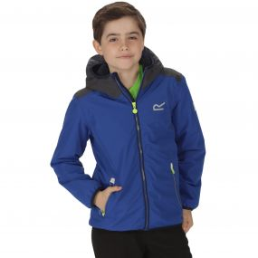 Kids Volcanics Waterproof Reflective Hooded Jacket Surfspray Blue
