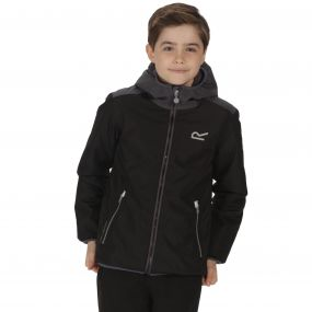 Kids Volcanics Waterproof Reflective Hooded Jacket Black