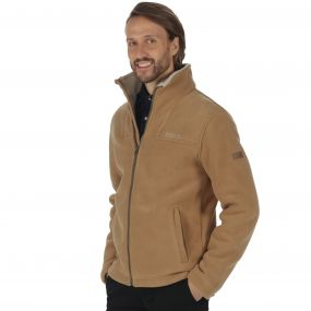 Grove Heavyweight Sherpa Backed Full Zip Fleece Dark Camel