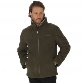 Grove Heavyweight Sherpa Backed Full Zip Fleece Dark Khaki