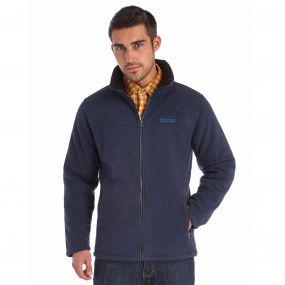Grove Heavyweight Sherpa Backed Full Zip Fleece Navy