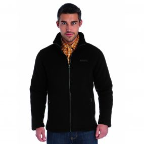 Grove Heavyweight Sherpa Backed Full Zip Fleece Black