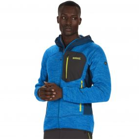 Cartersville III Marl Knit Effect Stretch Fleece with Hood Petrol Majolica Blue