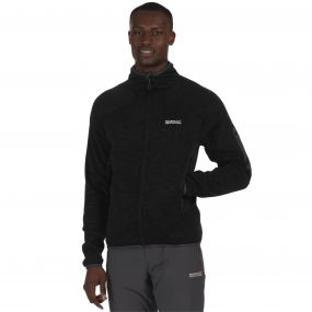Collumbus III Marl Knit Effect Stretch Fleece Black