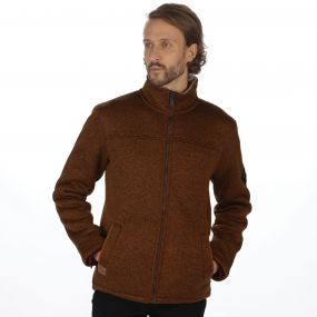 Palin Heavyweight Knit Effect Full Zip Bonded Fleece Dark Camel