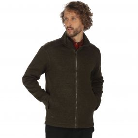 Braden Mid Weight Full Zip Knit Effect Fleece Dark Khaki