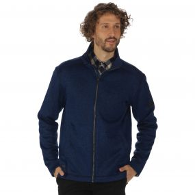 Braden Mid Weight Full Zip Knit Effect Fleece Navy