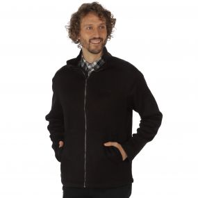 Braden Mid Weight Full Zip Knit Effect Fleece Black
