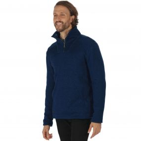 Lorcan Half Zip Mid Weight Knit Effect Fleece Navy