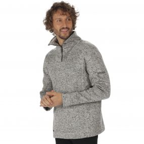 Lorcan Half Zip Mid Weight Knit Effect Fleece Dust