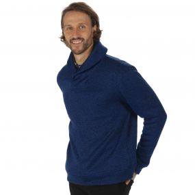 Treyton Mid Weight Shawl Neck Marl Fleece Navy