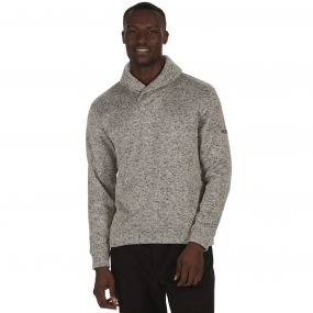 Treyton Mid Weight Shawl Neck Marl Fleece Dust Grey