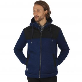 Ryne Heavyweight Knit Effect Full Zip Bonded Fleece with Hood Navy