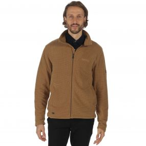 Eddard Full Zip Grid Textured Fleece Dark Camel