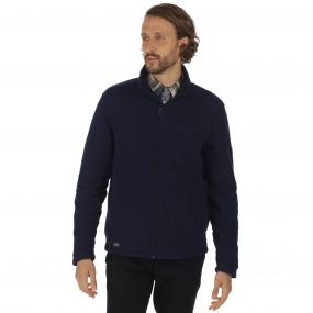 Eddard Full Zip Textured Grid Fleece Navy