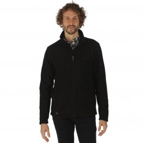 Eddard Full Zip Textured Grid Fleece Black