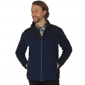 Zendon Mid Weight Full Zip Knit Effect Fleece Navy