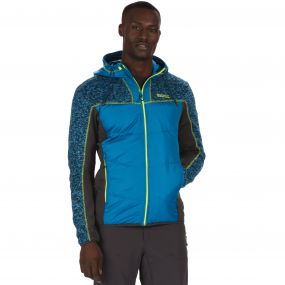 Men's Pendan Hybrid Stretch Fleece Petrol Blue Seal Grey