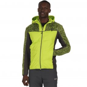 Men's Pendan Hybrid Stretch Fleece Lime Green Seal Grey