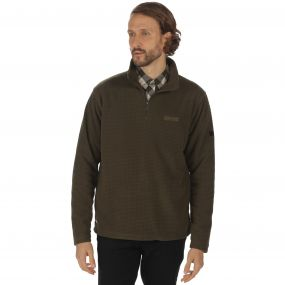 Elgon II Half Zip Grid Textured Fleece Dark Khaki